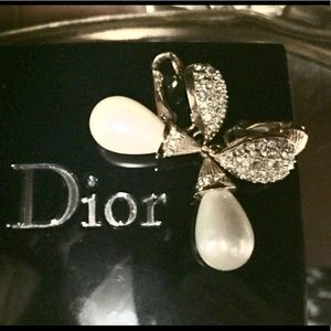 Christian Dior signed diamanté and pearl earrings